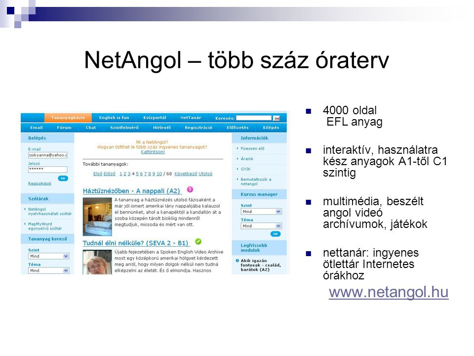 NetAngol – több száz óraterv