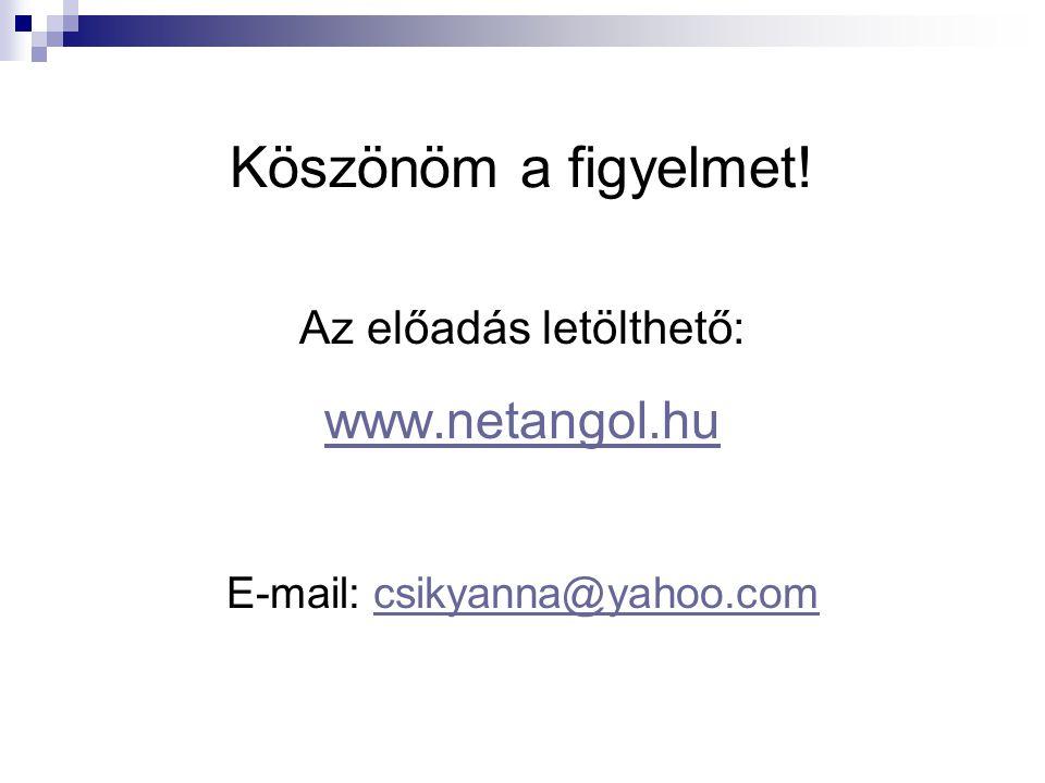 Köszönöm a figyelmet! www.netangol.hu Az előadás letölthető: