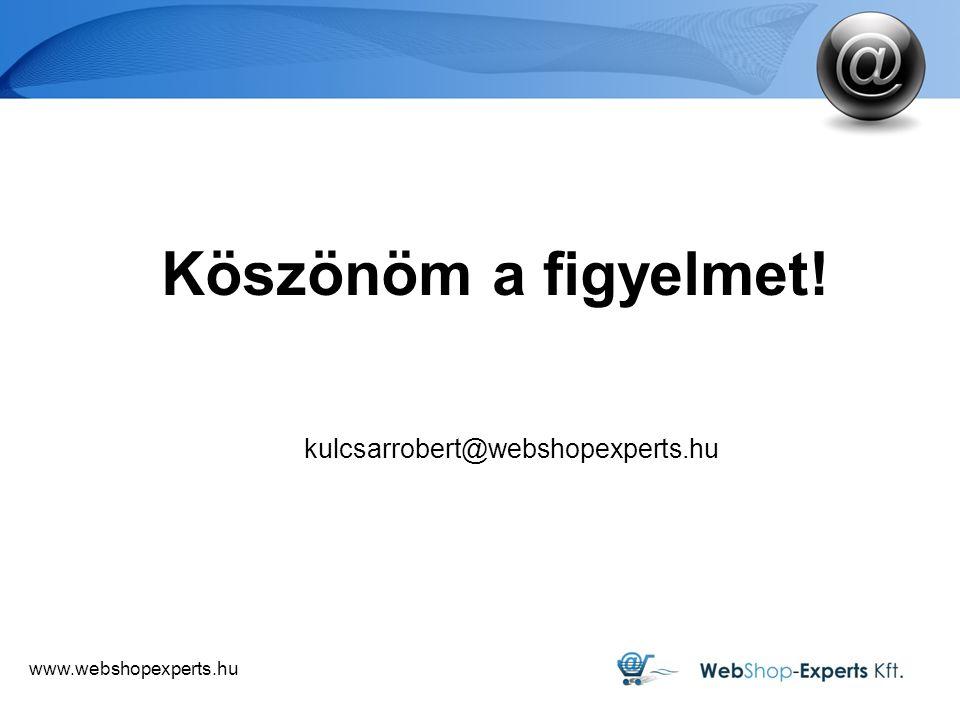 Köszönöm a figyelmet! kulcsarrobert@webshopexperts.hu