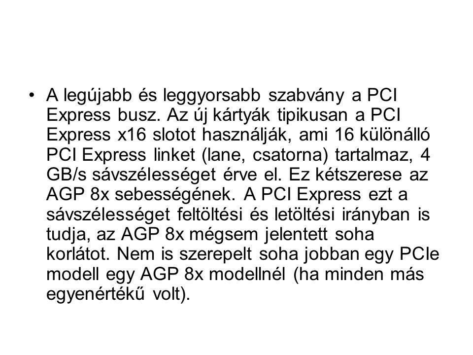 A legújabb és leggyorsabb szabvány a PCI Express busz