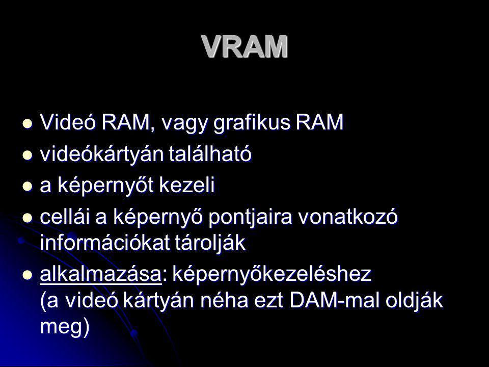 VRAM Videó RAM, vagy grafikus RAM videókártyán található