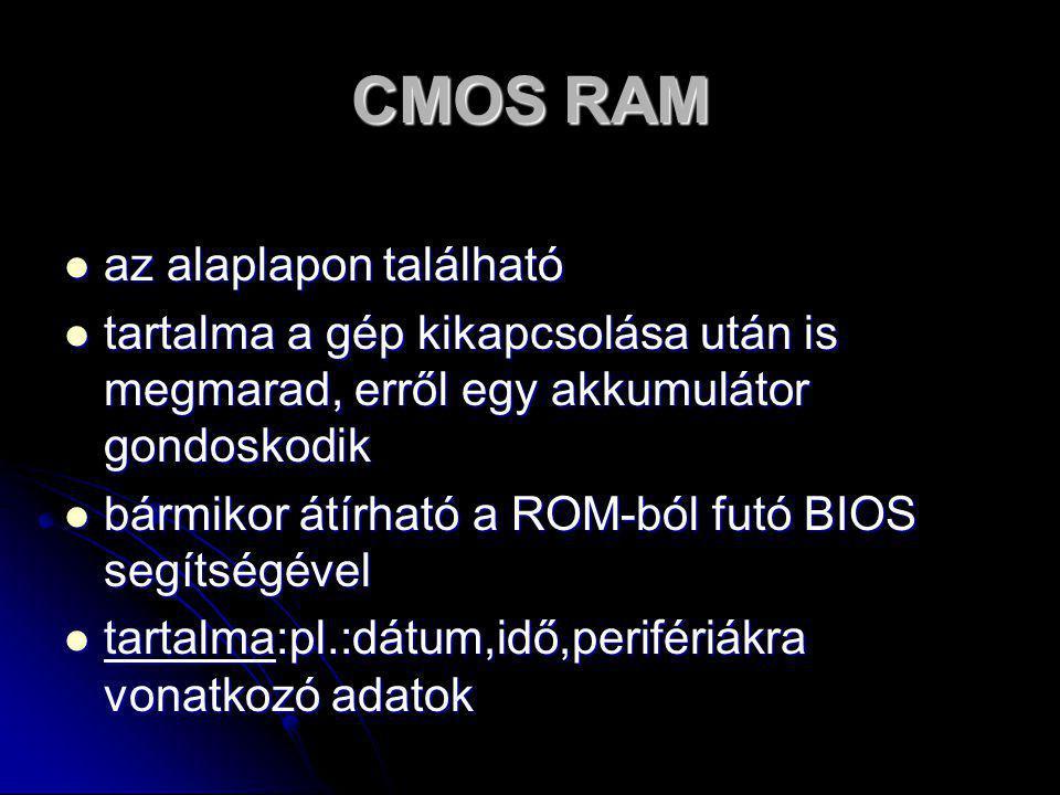 CMOS RAM az alaplapon található
