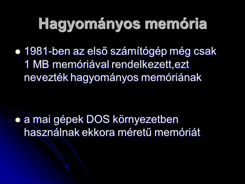 Hagyományos memória 1981-ben az első számítógép még csak 1 MB memóriával rendelkezett,ezt nevezték hagyományos memóriának.