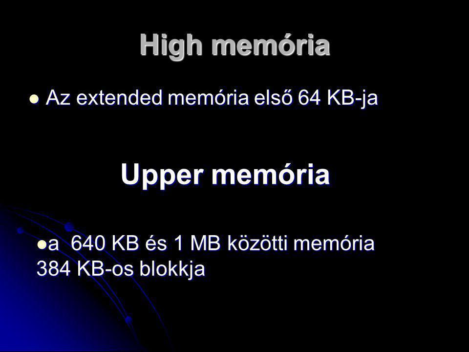 High memória Upper memória