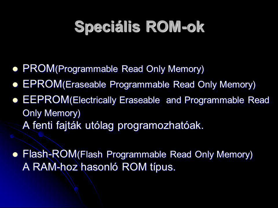 Speciális ROM-ok PROM(Programmable Read Only Memory)
