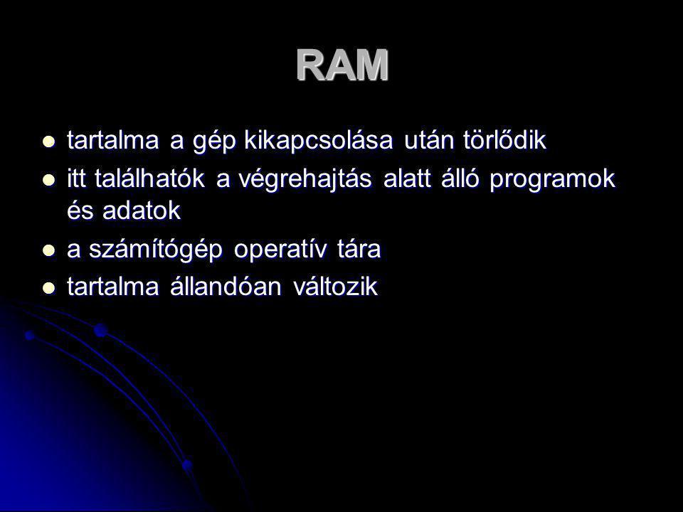 RAM tartalma a gép kikapcsolása után törlődik
