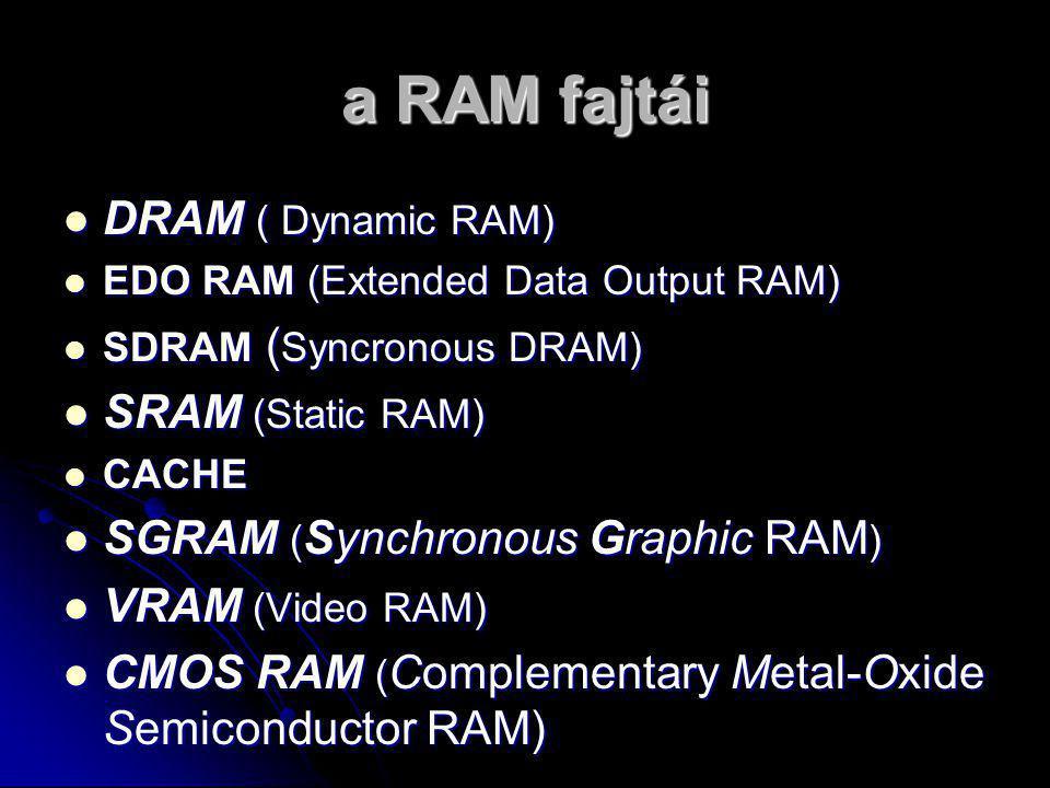 a RAM fajtái DRAM ( Dynamic RAM) SRAM (Static RAM)