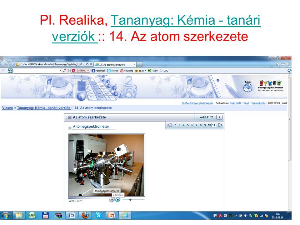 Pl. Realika, Tananyag: Kémia - tanári verziók :: 14. Az atom szerkezete