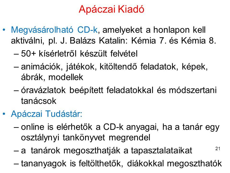 Apáczai Kiadó Megvásárolható CD-k, amelyeket a honlapon kell aktiválni, pl. J. Balázs Katalin: Kémia 7. és Kémia 8.