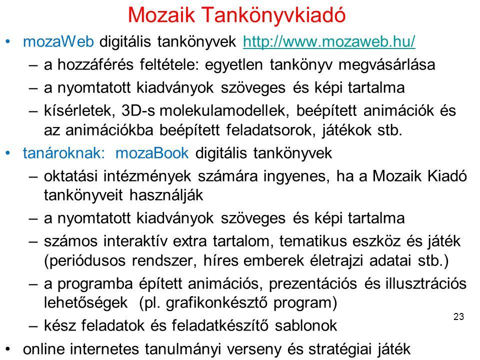 Mozaik Tankönyvkiadó mozaWeb digitális tankönyvek http://www.mozaweb.hu/ a hozzáférés feltétele: egyetlen tankönyv megvásárlása.