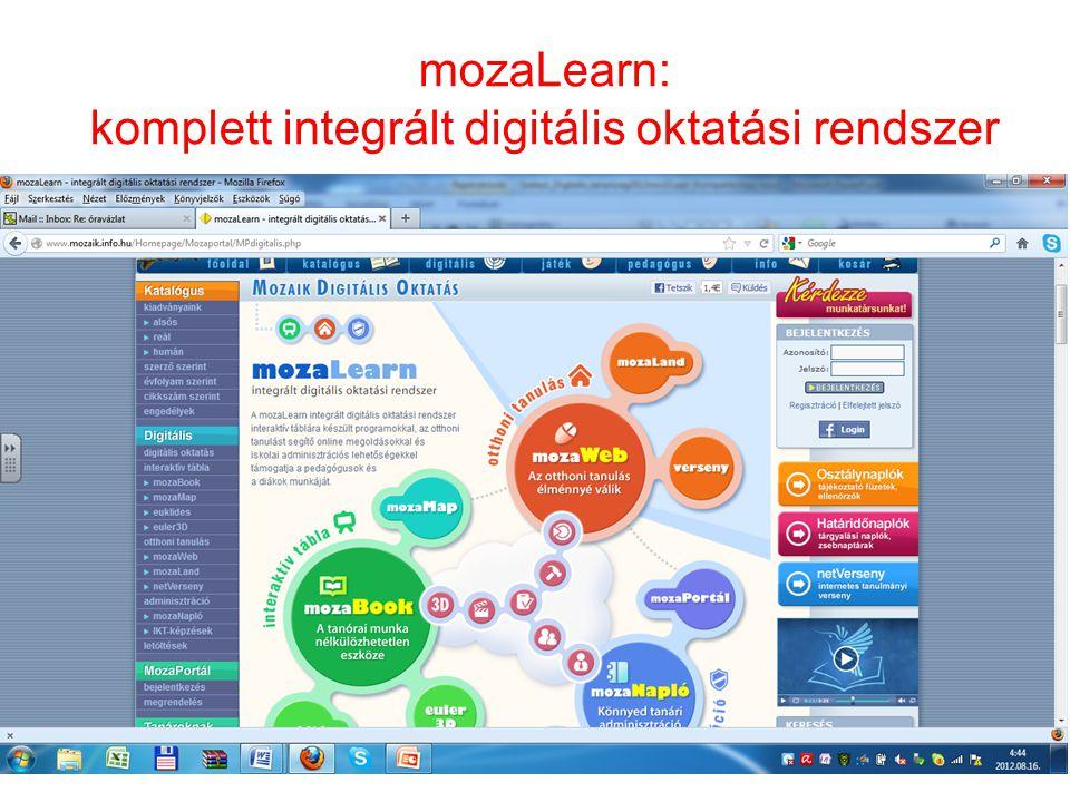 mozaLearn: komplett integrált digitális oktatási rendszer