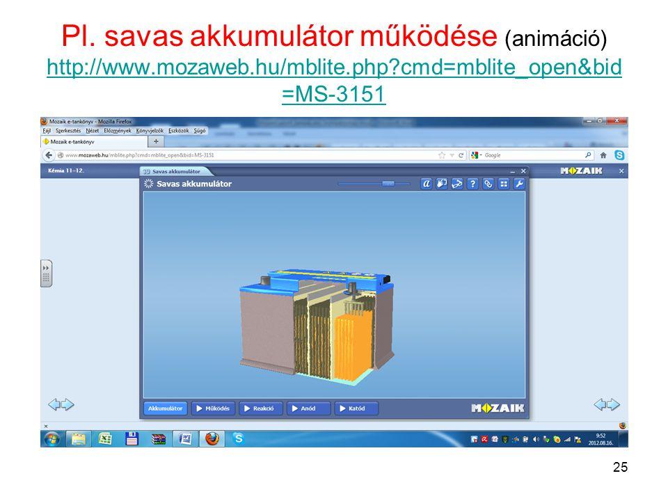 Pl. savas akkumulátor működése (animáció) http://www. mozaweb