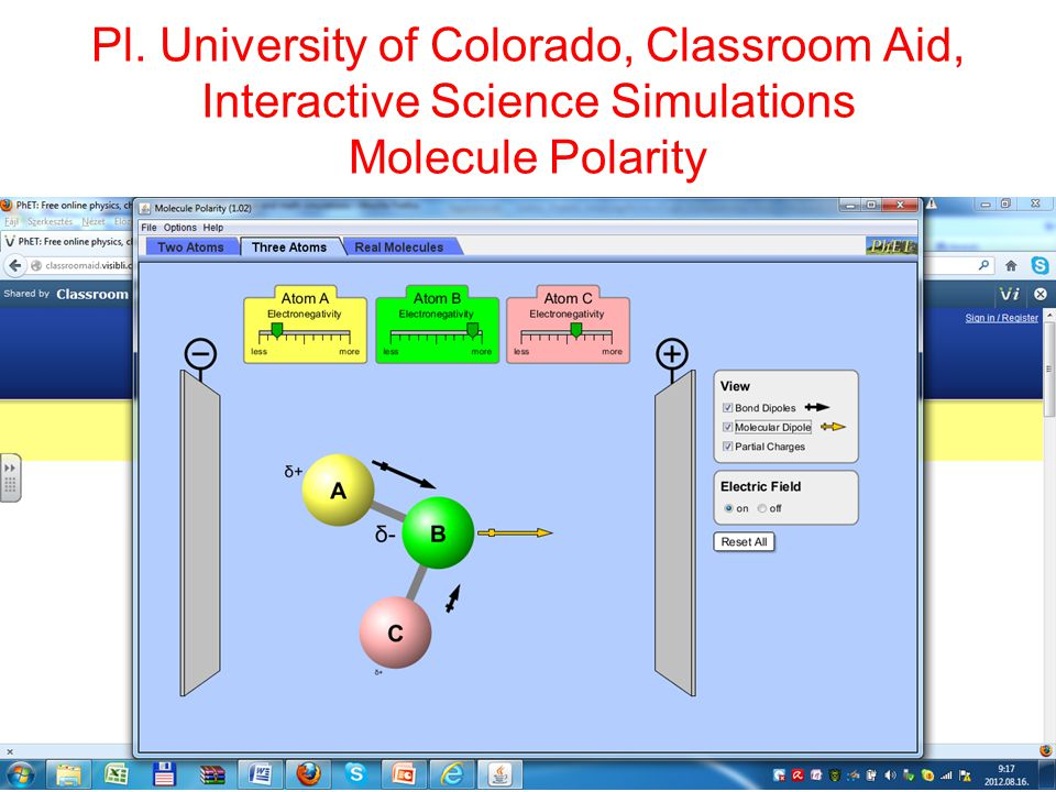 Pl. University of Colorado, Classroom Aid, Interactive Science Simulations Molecule Polarity