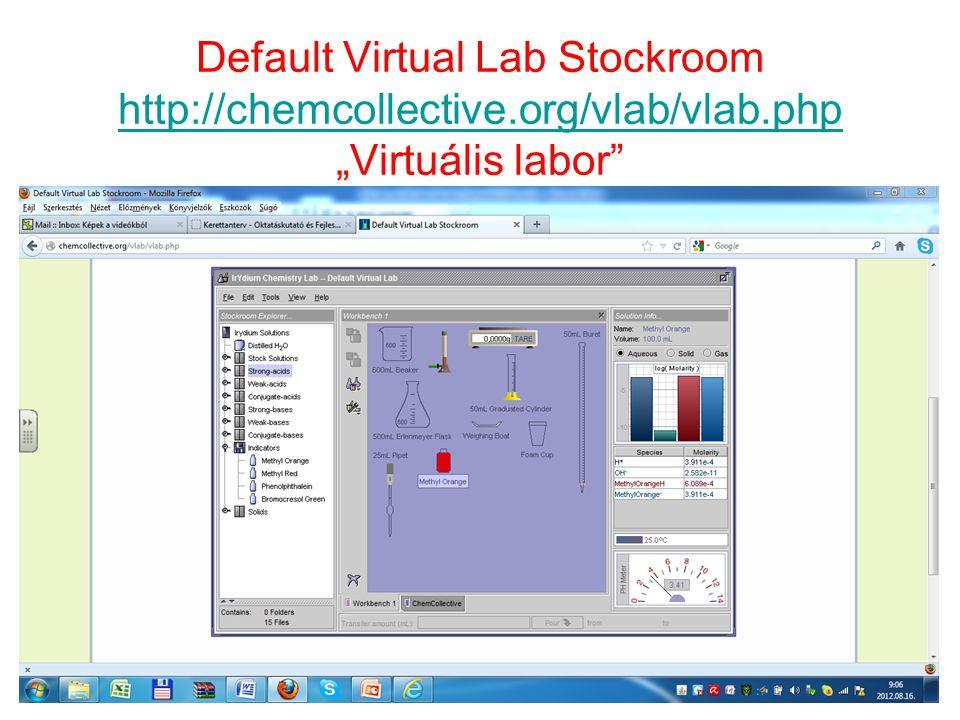 Default Virtual Lab Stockroom http://chemcollective. org/vlab/vlab