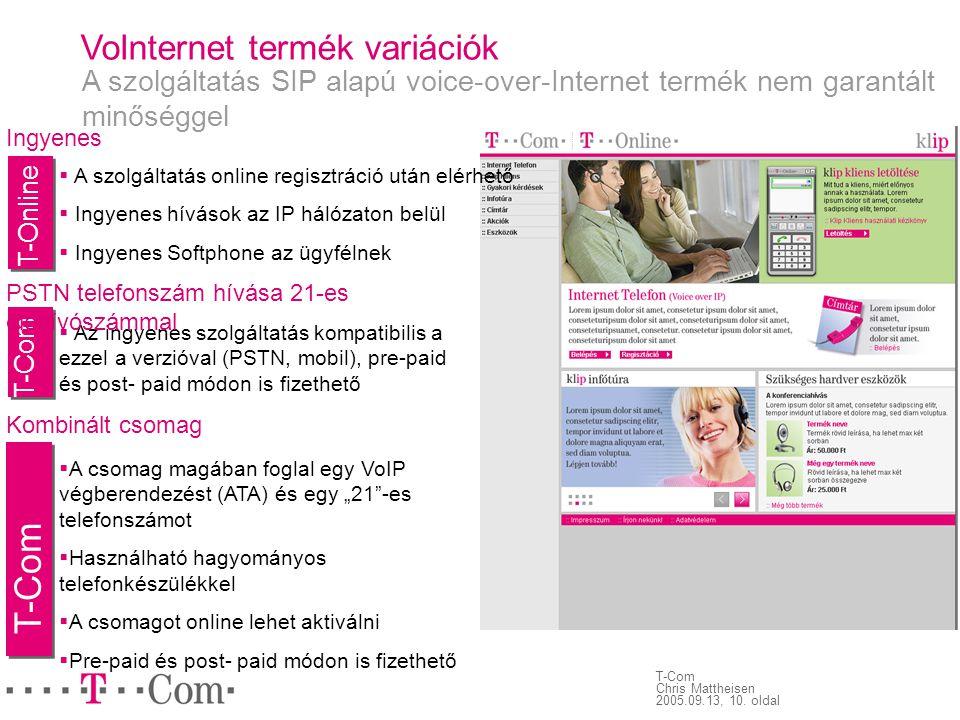 T-Com VoInternet termék variációk