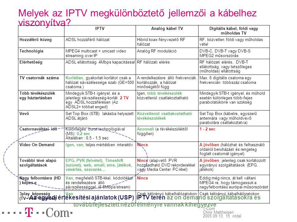 Melyek az IPTV megkülönböztető jellemzői a kábelhez viszonyítva