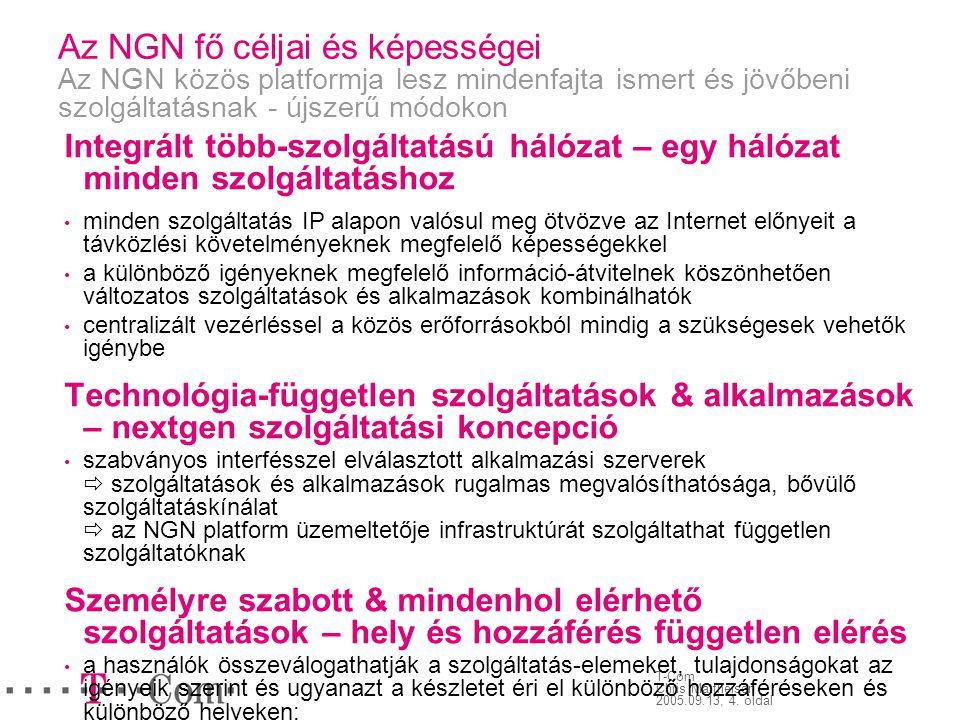 Az NGN fő céljai és képességei Az NGN közös platformja lesz mindenfajta ismert és jövőbeni szolgáltatásnak - újszerű módokon