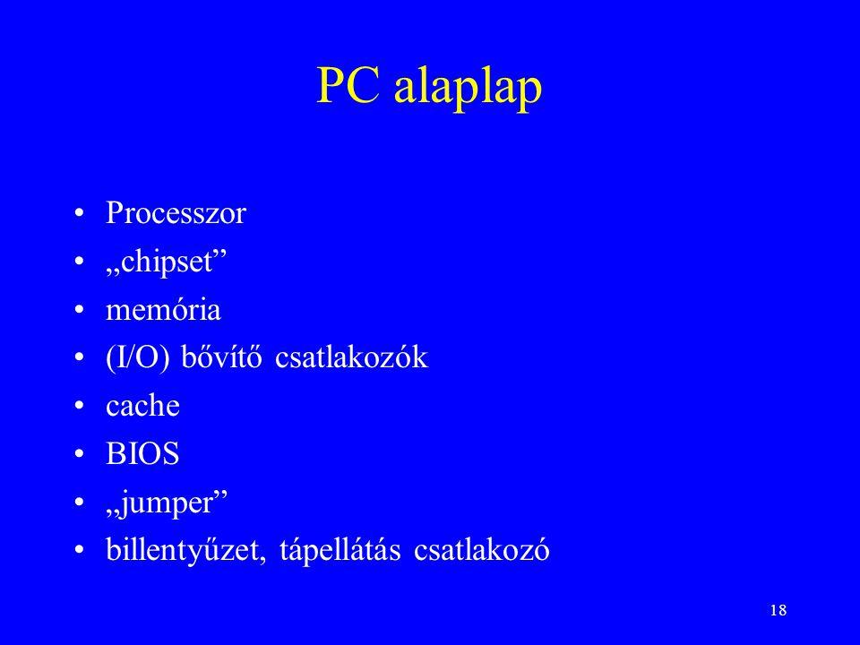 """PC alaplap Processzor """"chipset memória (I/O) bővítő csatlakozók cache"""