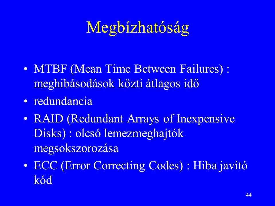 Megbízhatóság MTBF (Mean Time Between Failures) : meghibásodások közti átlagos idő. redundancia.
