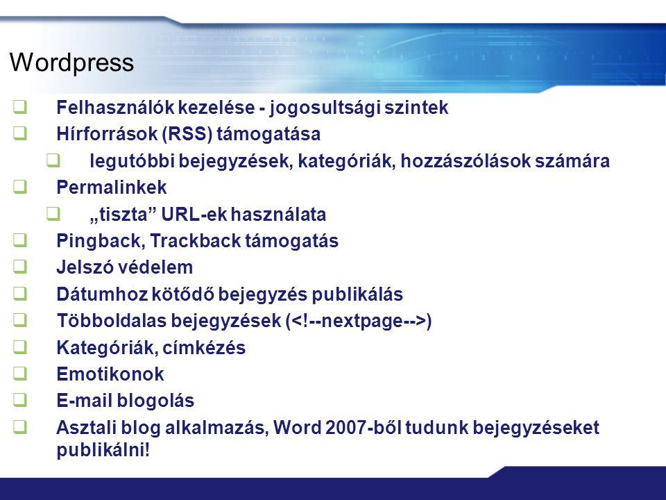 Wordpress Felhasználók kezelése - jogosultsági szintek