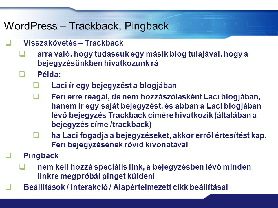 WordPress – Trackback, Pingback