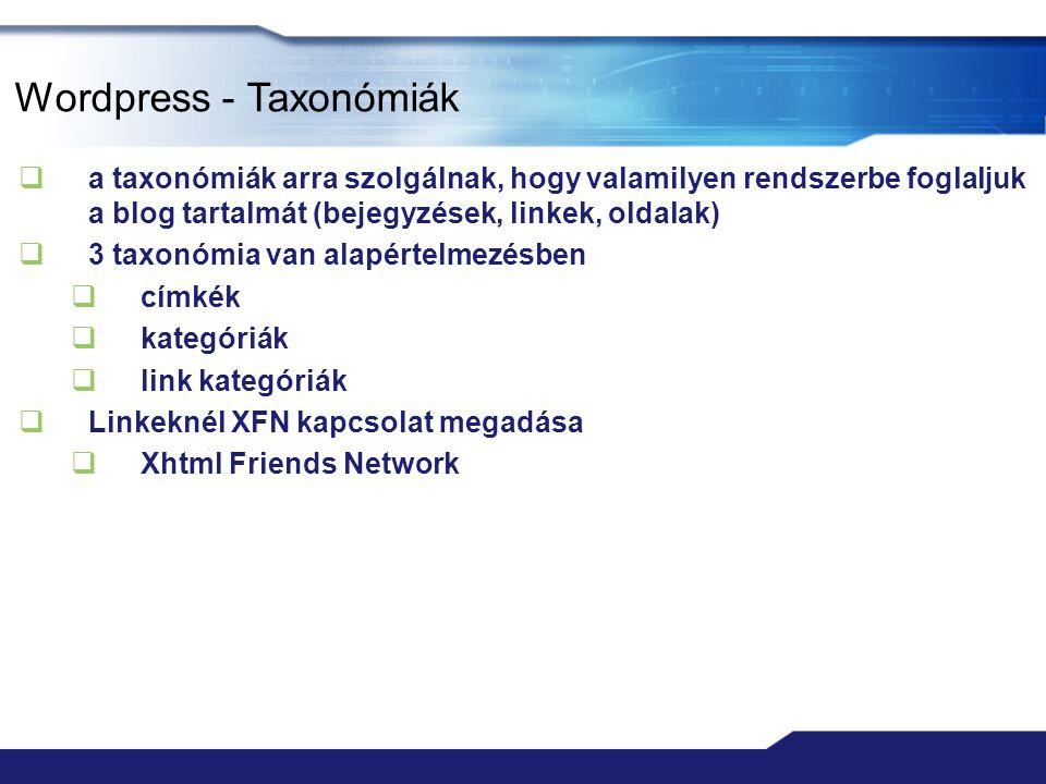 Wordpress - Taxonómiák