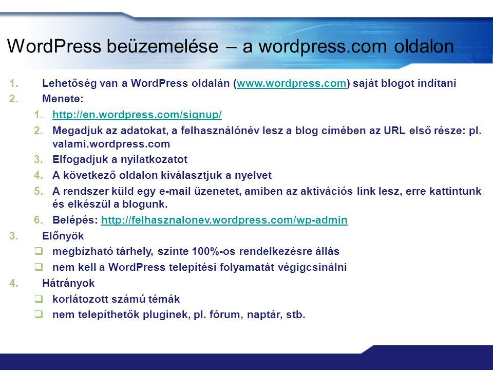 WordPress beüzemelése – a wordpress.com oldalon