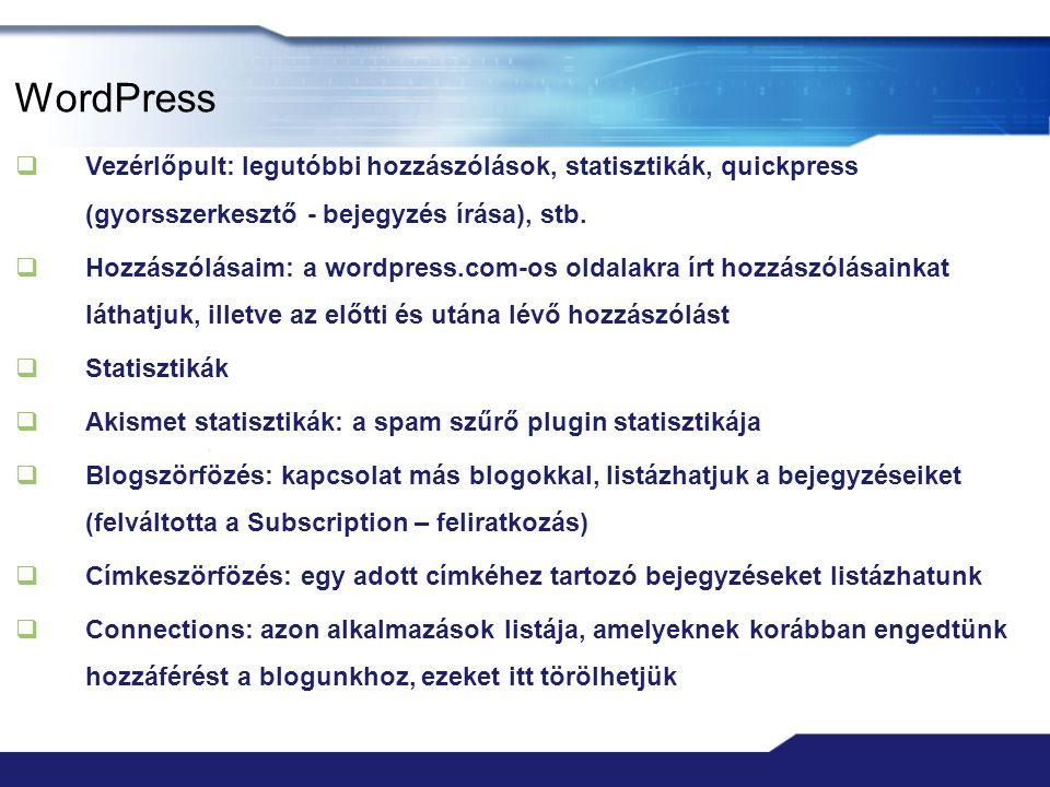 WordPress Vezérlőpult: legutóbbi hozzászólások, statisztikák, quickpress (gyorsszerkesztő - bejegyzés írása), stb.