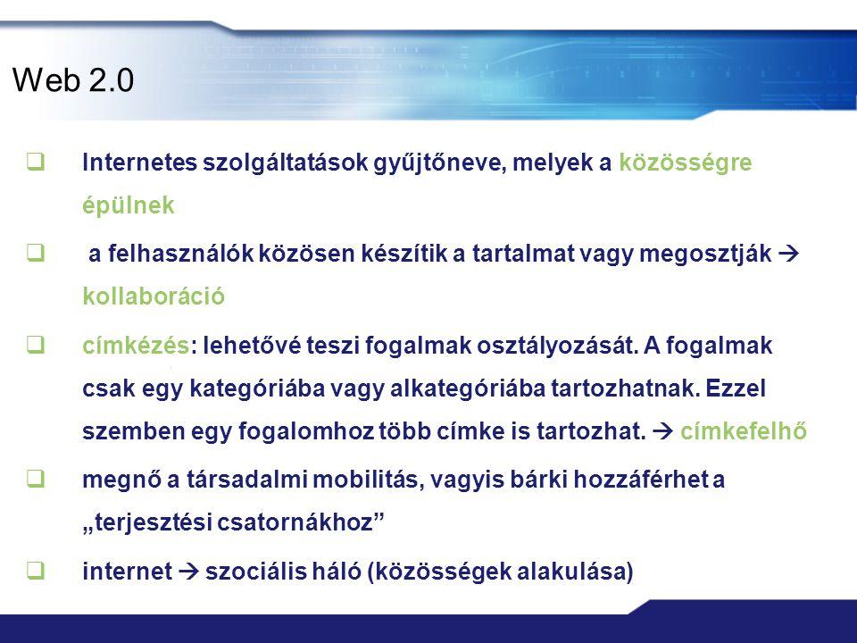 Web 2.0 Internetes szolgáltatások gyűjtőneve, melyek a közösségre épülnek.