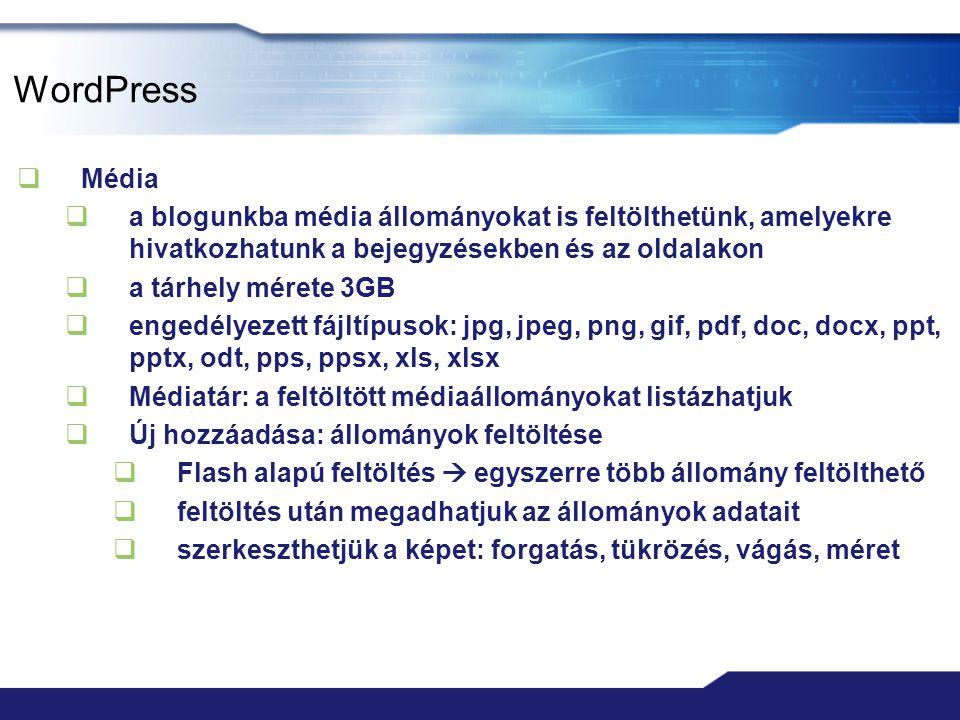 WordPress Média. a blogunkba média állományokat is feltölthetünk, amelyekre hivatkozhatunk a bejegyzésekben és az oldalakon.