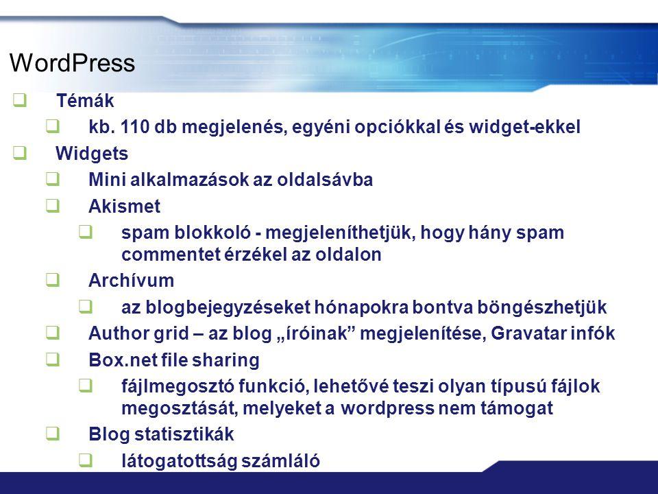 WordPress Témák. kb. 110 db megjelenés, egyéni opciókkal és widget-ekkel. Widgets. Mini alkalmazások az oldalsávba.
