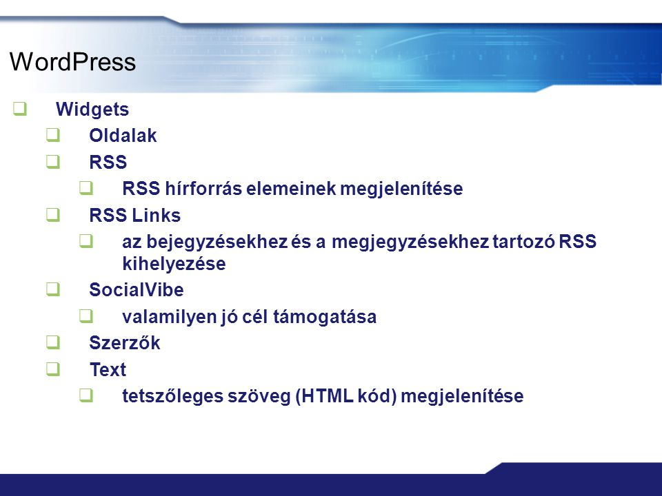 WordPress Widgets Oldalak RSS RSS hírforrás elemeinek megjelenítése