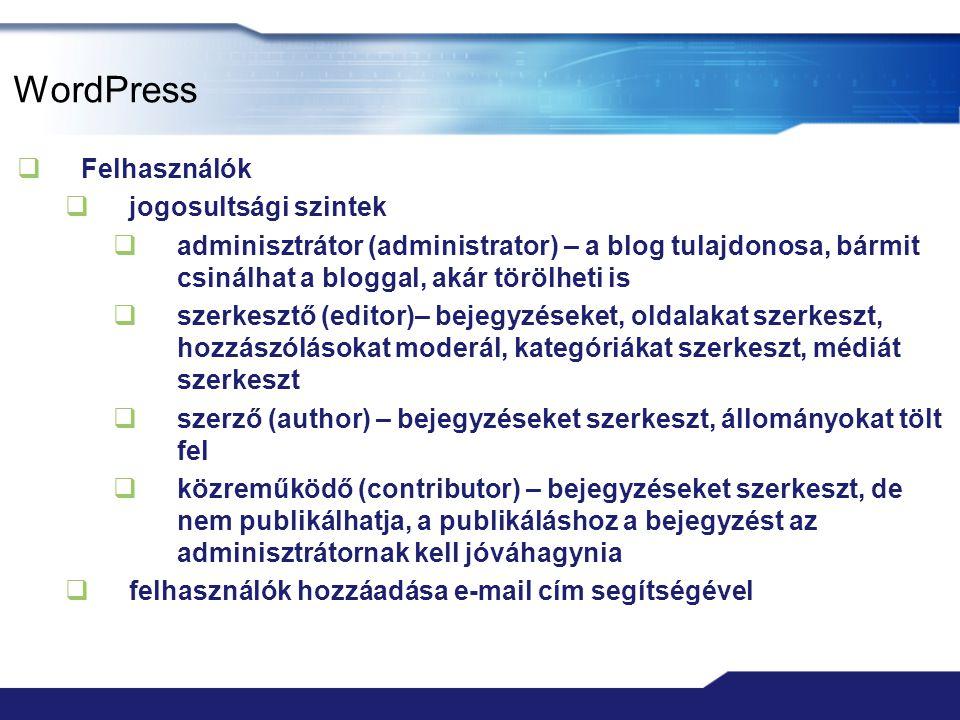 WordPress Felhasználók jogosultsági szintek