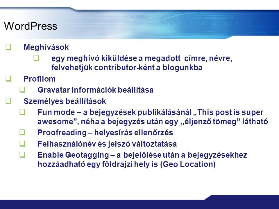 WordPress Meghívások. egy meghívó kiküldése a megadott címre, névre, felvehetjük contributor-ként a blogunkba.