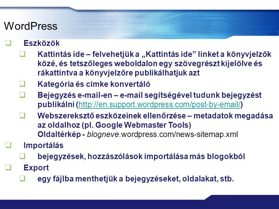 WordPress Eszközök.