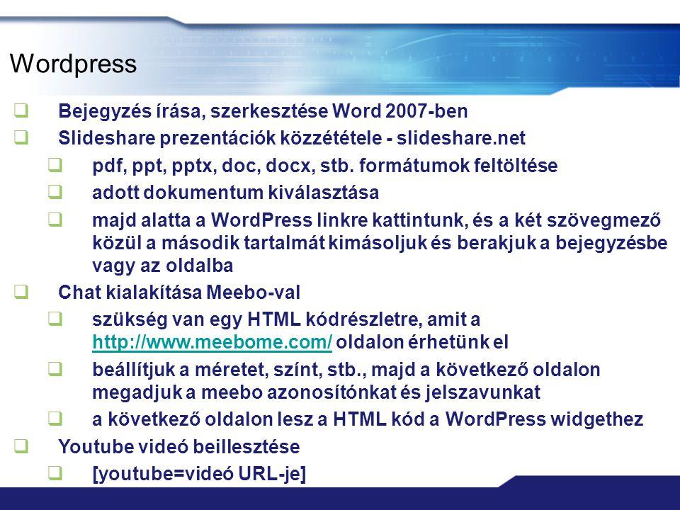 Wordpress Bejegyzés írása, szerkesztése Word 2007-ben