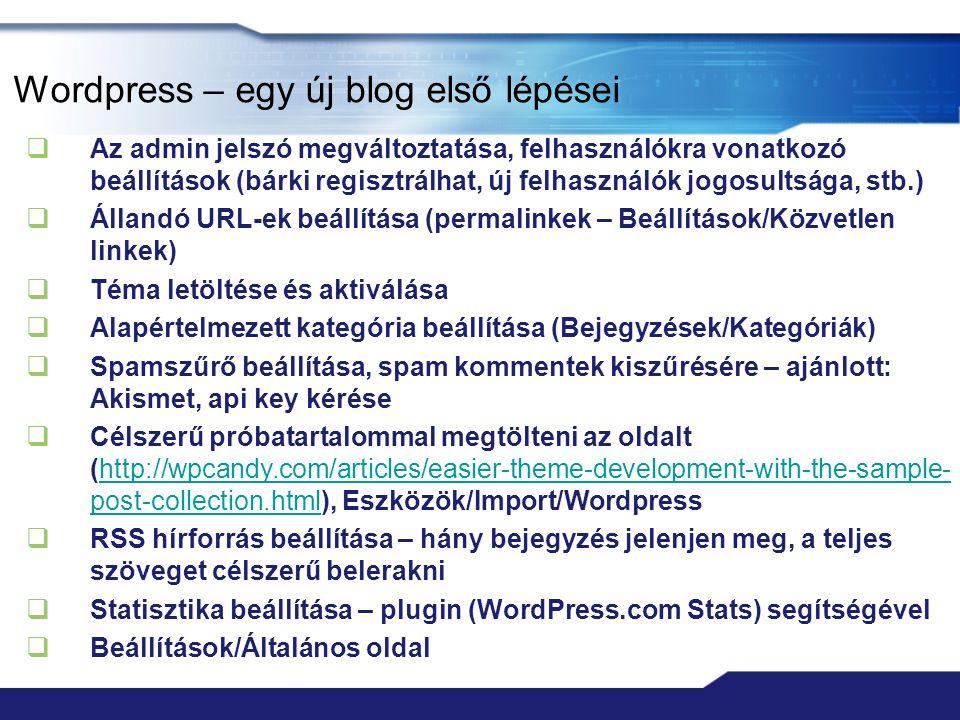 Wordpress – egy új blog első lépései