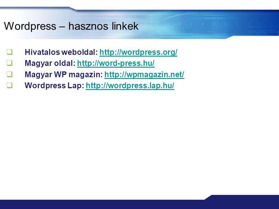 Wordpress – hasznos linkek