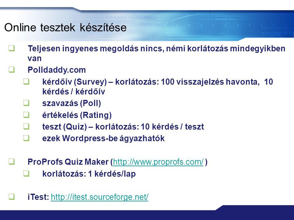 Online tesztek készítése