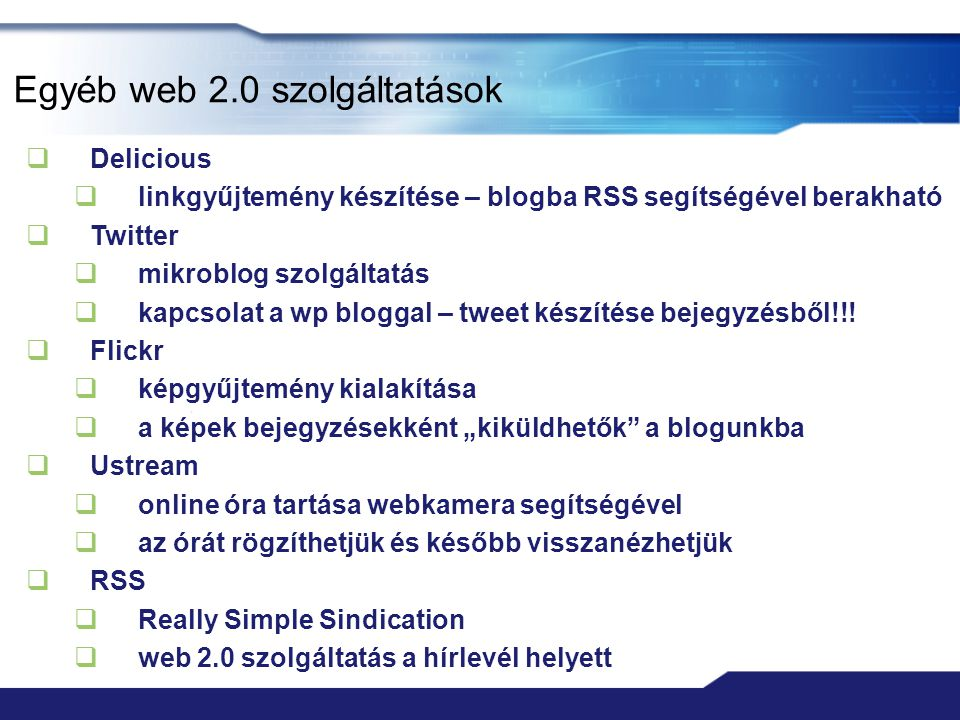 Egyéb web 2.0 szolgáltatások