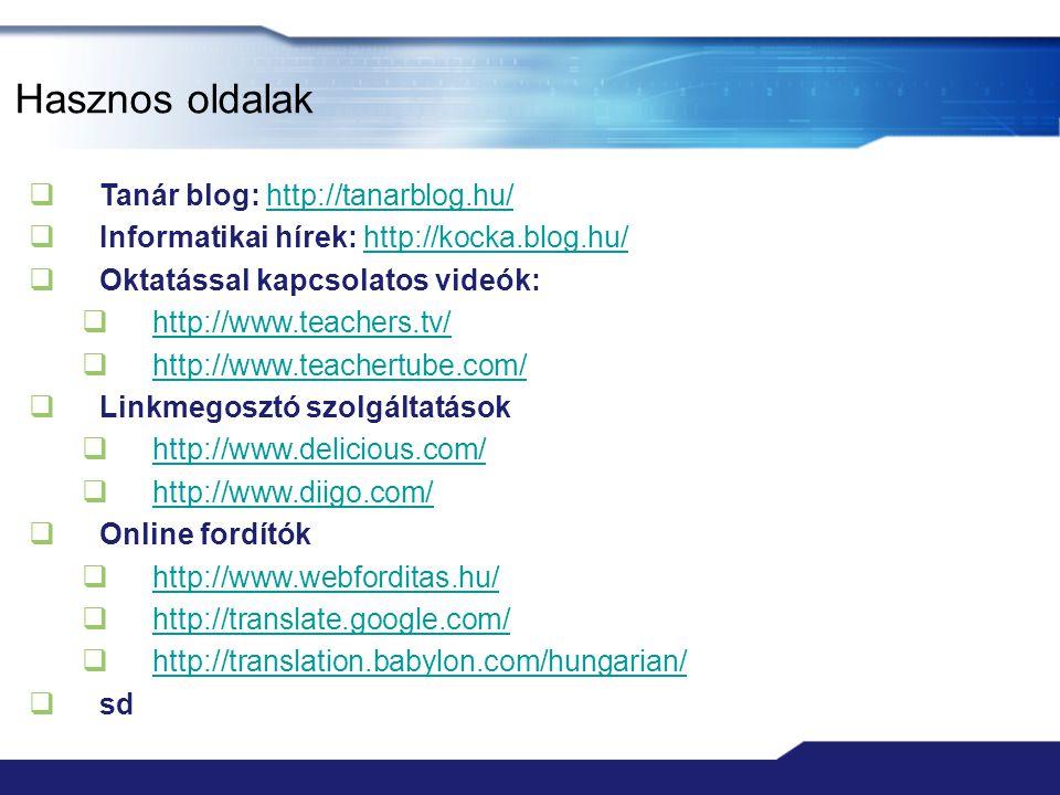 Hasznos oldalak Tanár blog: http://tanarblog.hu/
