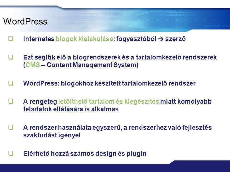 WordPress Internetes blogok kialakulása: fogyasztóból  szerző
