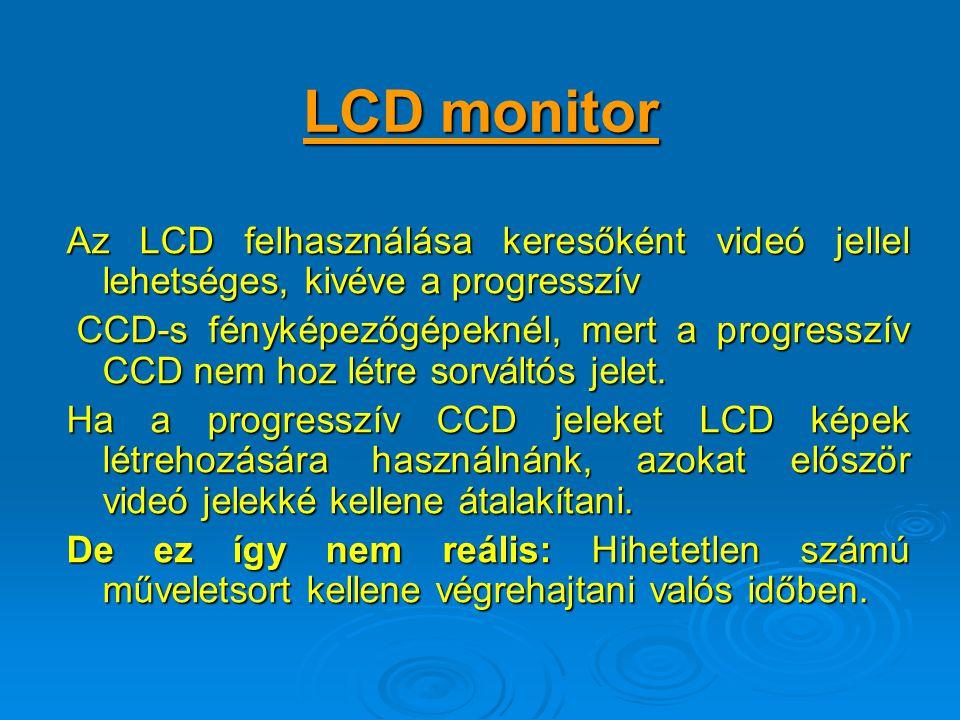 LCD monitor Az LCD felhasználása keresőként videó jellel lehetséges, kivéve a progresszív.