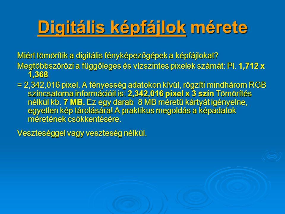 Digitális képfájlok mérete