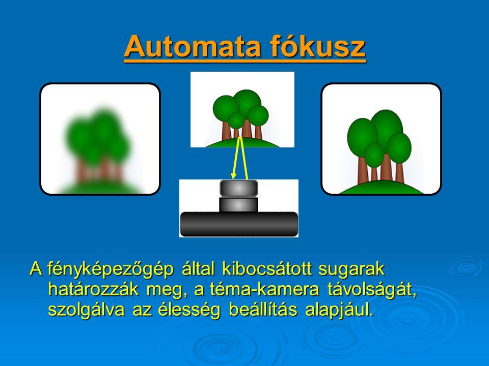 Automata fókusz A fényképezőgép által kibocsátott sugarak határozzák meg, a téma-kamera távolságát, szolgálva az élesség beállítás alapjául.