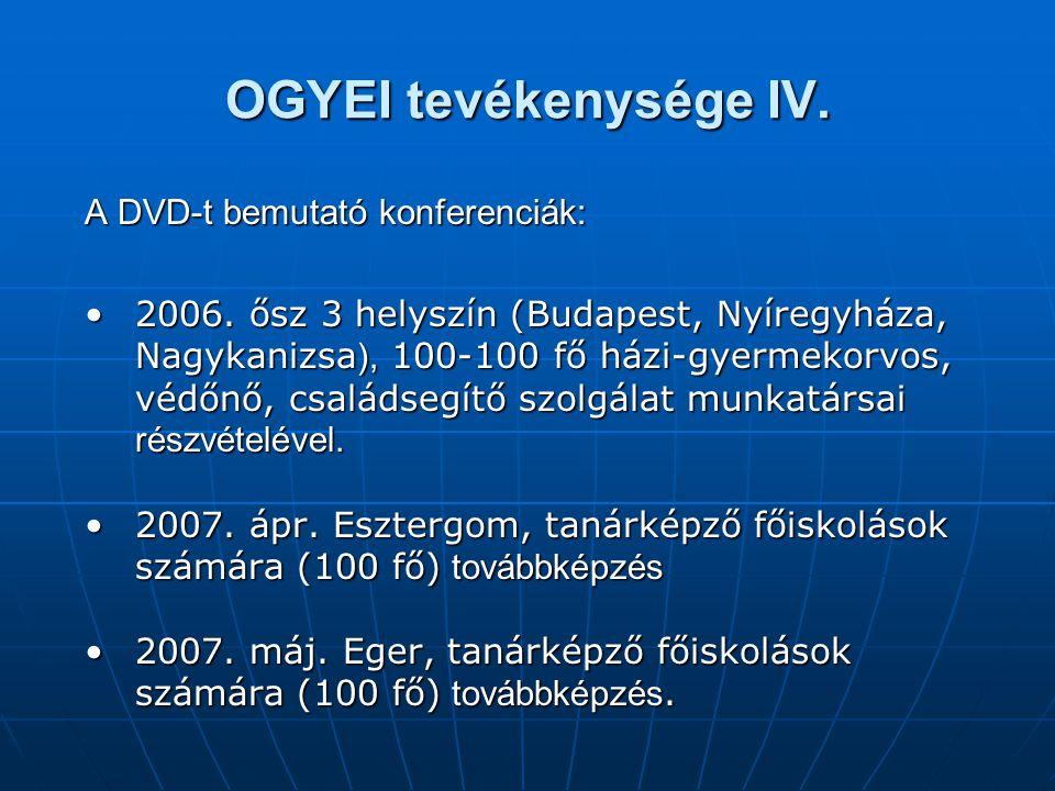 OGYEI tevékenysége IV. A DVD-t bemutató konferenciák: