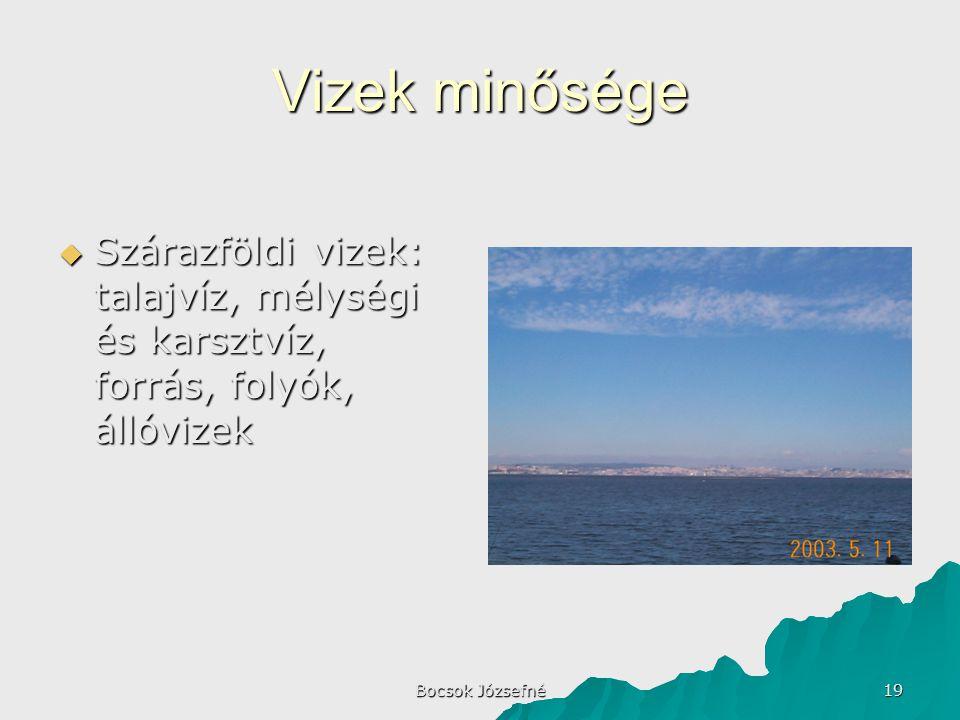 Vizek minősége Szárazföldi vizek: talajvíz, mélységi és karsztvíz, forrás, folyók, állóvizek.