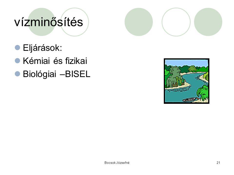vízminősítés Eljárások: Kémiai és fizikai Biológiai –BISEL