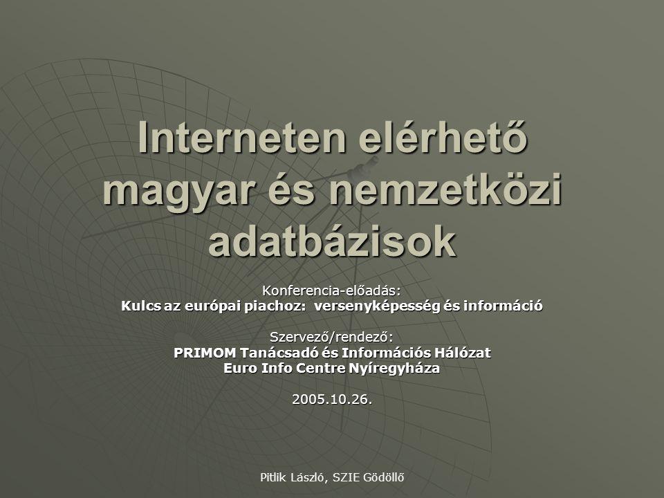 Interneten elérhető magyar és nemzetközi adatbázisok