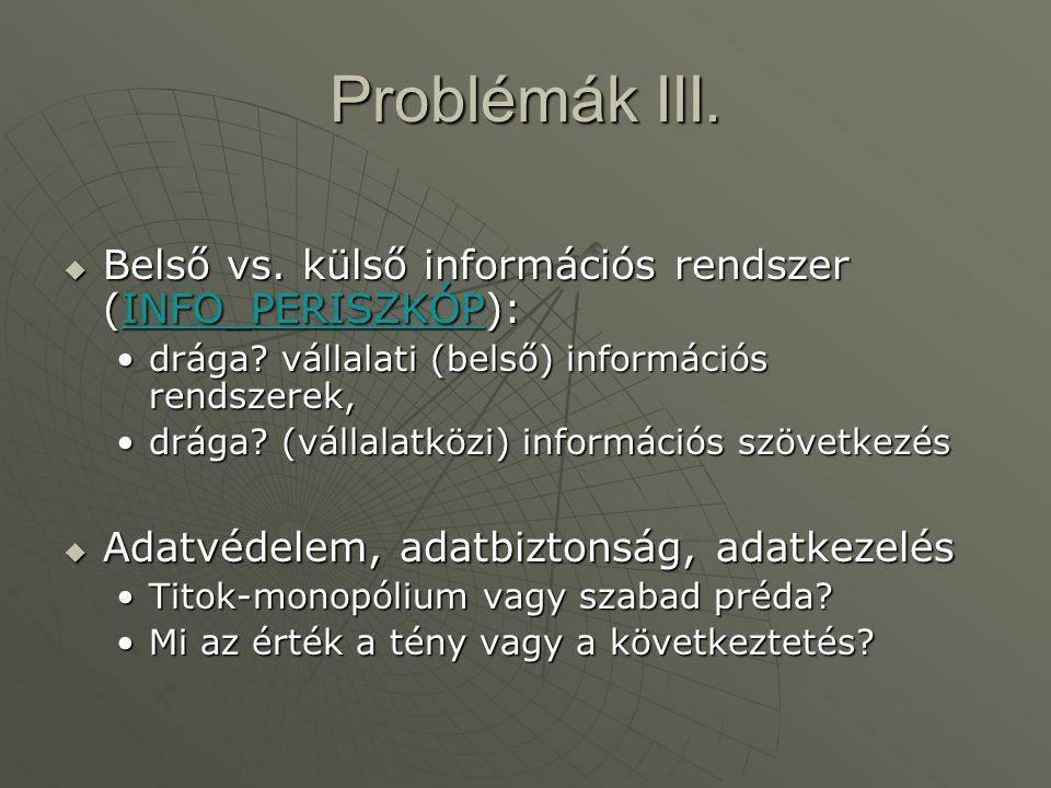Problémák III. Belső vs. külső információs rendszer (INFO_PERISZKÓP):